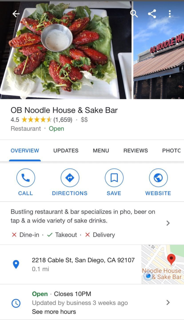 Example of Accurate GMB Listing - OB Noodle House