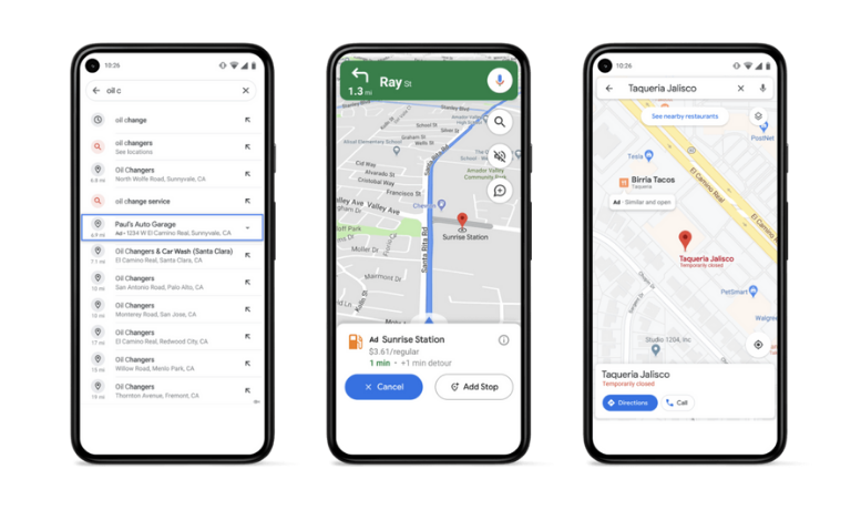 Three examples of Google Local Ads on iPhones