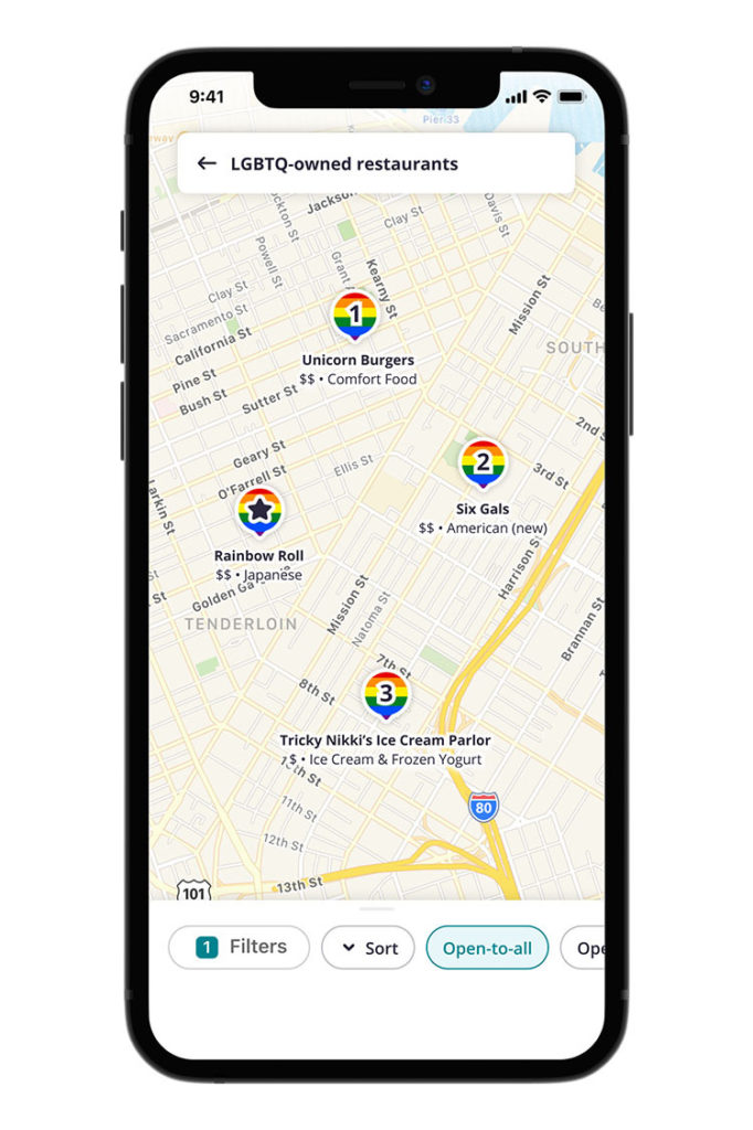 Yelp pride map on iphone