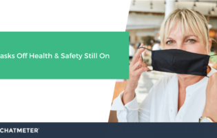 Blog Cover Masks Off Health and Safety Still On and image with Woman with face mask