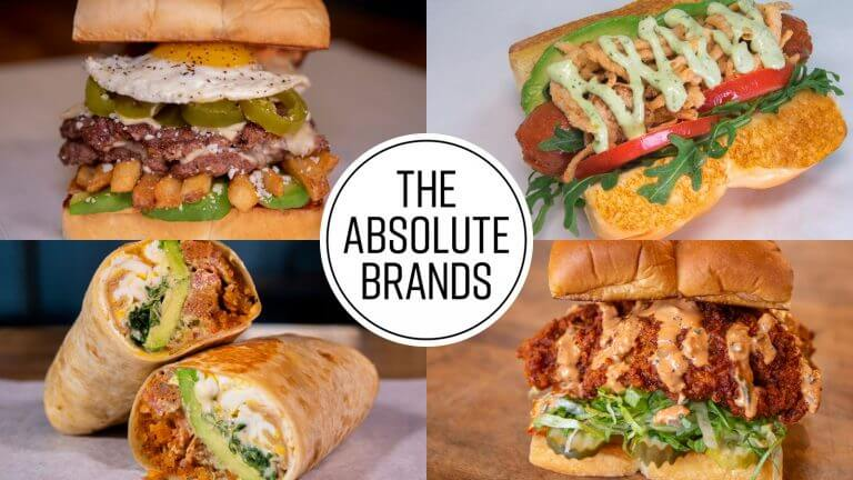 The Absolute Brands surrounded by four photos of food dishes
